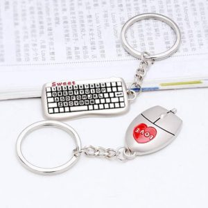 1 pair Mouse And keyboard Pendant Keyring Keychain Keyfob