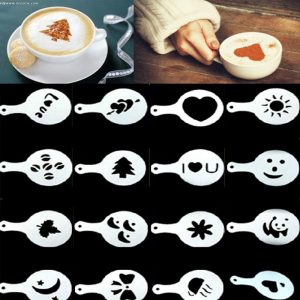 16pcs DIY Coffee Printing Model Thick Fashion Creative Plastic Garland Mold Fancy Cappuccino Barista Spray Cooffe