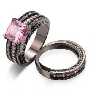18K Black Gold Plated Pink Square crystal Luxury Bijoux Fashion Ring Set
