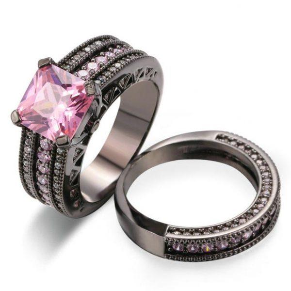 18K Black Gold Plated Pink Square crystal Luxury Bijoux Fashion Ring Set