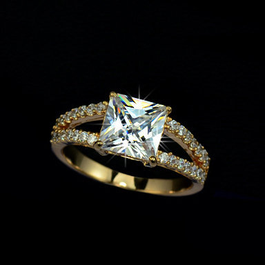 18K Gold plated Princess Cut Cubic Zirconia with micro CZs Cluster Setting Engagement Ring