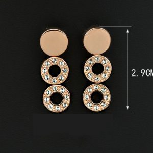 18K Rose Gold Plated String Circles Brand Design Earring
