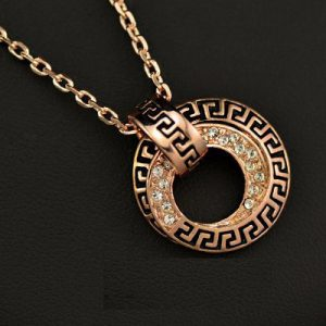 18K Rose Gold Plated with Stellux Austrian Crystals G Element Circle Pendant Necklace