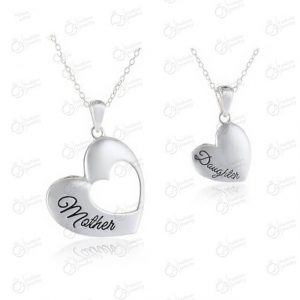 2 Piece Mother Daughter Heart Cutout Pendant