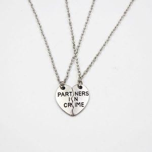 2 pcs set Partners In Crime BFF Necklace Friendship
