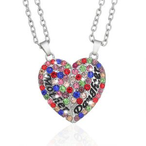 2PC Silver Plated Mother Daughter Necklace Silver Heart Full Crystal Rhinestone