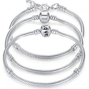 5 Style Silver Plated LOVE Snake Chain Bracelet & Bangle