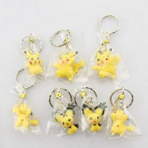 7pcs Cartoon Pokemon Anime Pikachu Style Key Ring Keychain (7pcs per set
