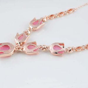 Fashion Party Jewelry Set Pink/Beige Cat Eye Opal Rhinestone Tulip Flower Necklaces Earrings Bracelets