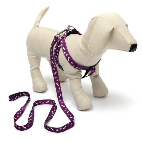 Adjustable Bone&Paws Printing Cat Dog Puppy Pet Harness Lead Collar Leash 0.59×47.3
