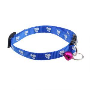 Adjustable Nylon Footprints Collar Dog Puppy Pet Collars With Bells