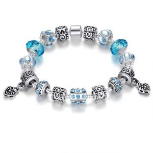Silver Crystal Charm Bracelet for Women With Pink Murano Glass Beads