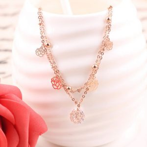 Anklets For Women Small Beads Rose Flowers Gold Plated