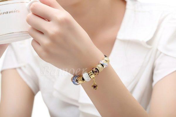 Asian 925 Silver Leather Charm Bracelets & Bangles for Women