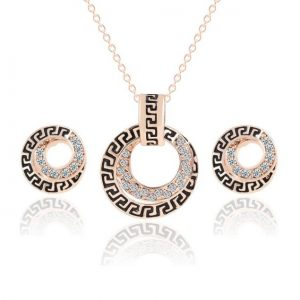 Austrian Crystal Circle Jewelry Sets Party Gold Pendant Necklace Drop Earrings Set