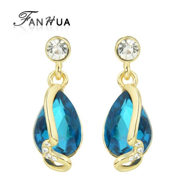 Big Blue Beige Rhinestone and Crystal Jewelry Water Drop Earrings