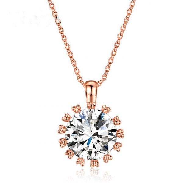 18K Real Gold Plated Big Sparkling Top Cubic Zirconia Diamond Pendant Necklace