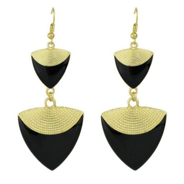 Bijoux Gold Color Enamel Triangle Shape Long Drop Earrings