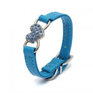 Black Blue Puppy Diamond Crystal Heart Bling Pet Dog Cat Collar PU Leather Adjustable