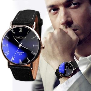 Black Luxury Fashion Faux Leather Band Mens Quartz Analog Watch