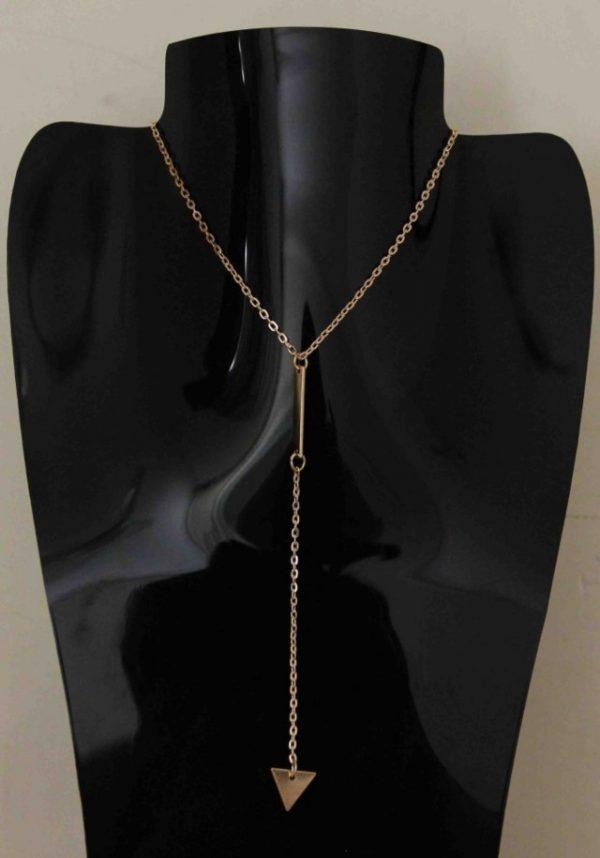 Bohemia Simple Little Triangular Tassels Chian Bar Alloy Necklace