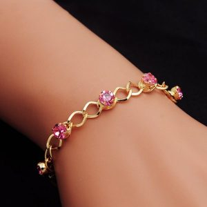 Bracelet Femme Gold Chain Plated Crystal Wristband Party Jewelry Shine Rhinestone Pulseras
