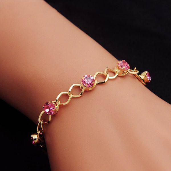 Bracelet Femme Gold Chain Plated Crystal Wristband Party Jewelry Shine Rhinestone Pulseras