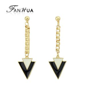 Brincos Grandes Triangle Black Enamel Punk Drop Earrings