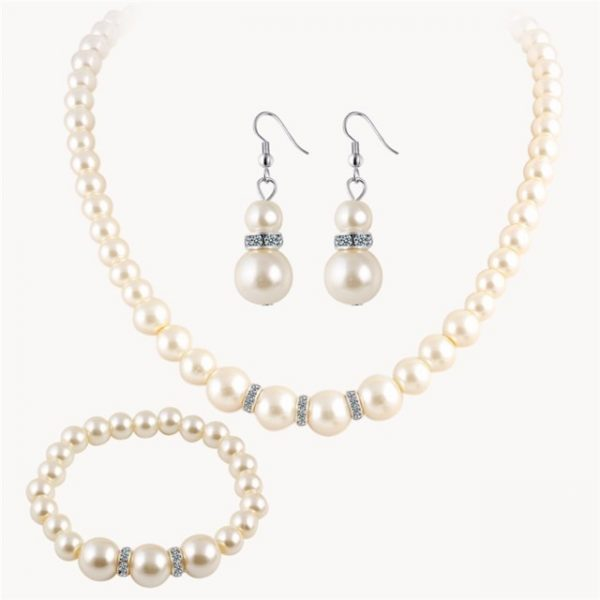New Simulated Pearl Wedding Jewelry Set Crystal Necklace Fine Jewelry Party Women Beads Bridal
