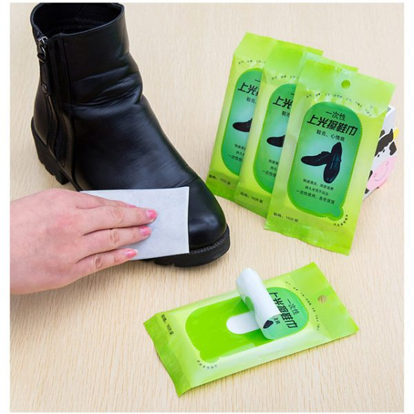 New Portable Shoeshine Wipes Paper Briefcase Cleaning Brightening Leather Shoes For Tourism