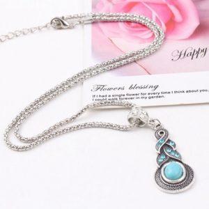 Charming Crystal Tibetan Silver rhinestone cross Geometric round turquoise infinity pendant