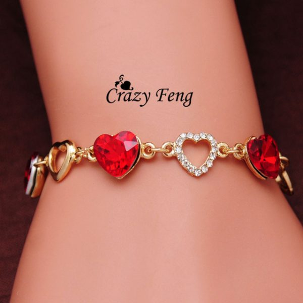 Charm Bracelet 18k Gold Plated Chain Link Crystal Chain Heart Lover Bracelets