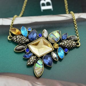Colorful Rhinestone Necklaces Pendants Boho Flower Necklace Antique Gold Plated Vintage