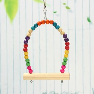 Colorful Wooden Bird Parrot Swing Stand Cage Hanging Toys For Cockatiel Budgie