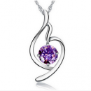 Copper inlay zircon crystal pendant necklace