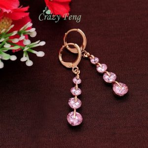 Crazy Feng Fashion Long Drop Earrings For Women 18K Gold plated