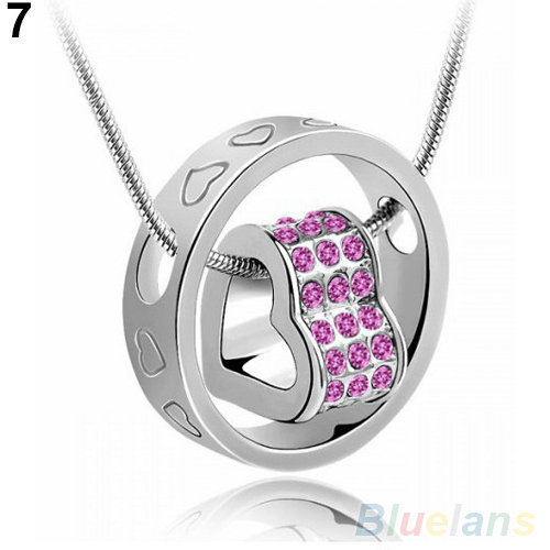 Crystal Chain Rhinestone Gift Love Heart Pendant Necklace