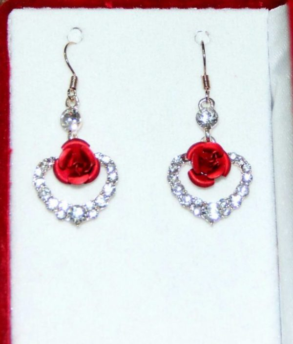 Crystal Jewelry Earrings Heart of Love Red Rose Shape Drop Earrings