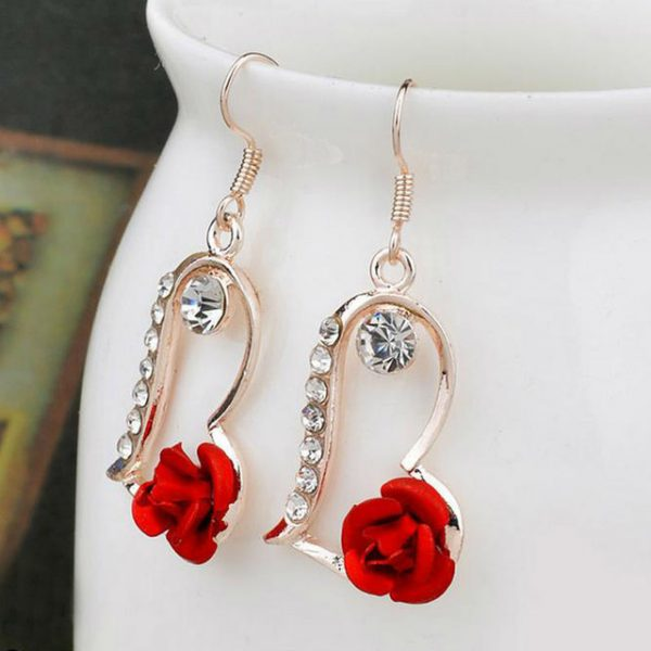 Red Rose Flower Earrings