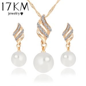 Fashion Women Necklace Earrings Jewelry Sets Crystal Gold Color Big Simulated Pearl Wedding Party