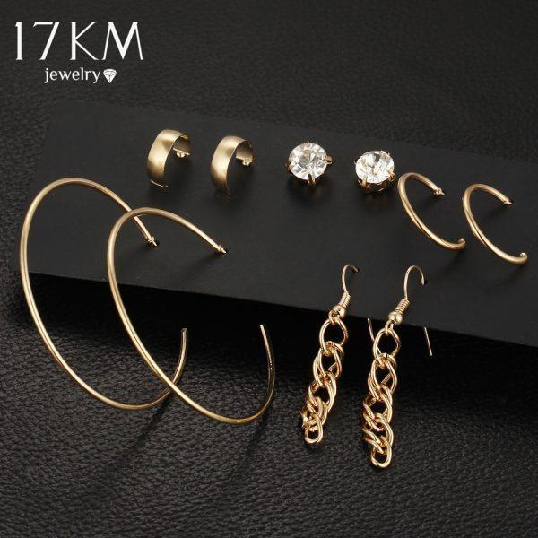 Punk Tassel Earrings For Women 5 Pairs/Set Crystal Alloy Stud Earrings Men Vintage boho Koyle Brincos