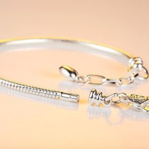 Silver Plated LOVE Snake Chain Bracelet & Bangle 16CM-21CM Pulseras Lobste