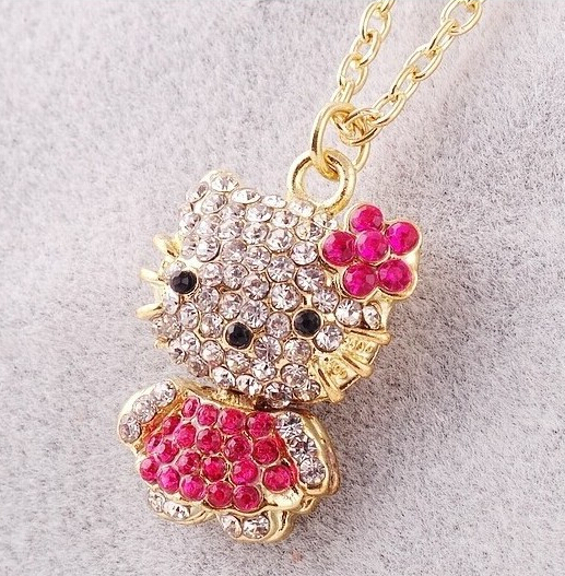 fba086a76e29a Fashion Hello Kitty Pendant Necklace Rhinestone Crystal Necklace For Women  Gold Silver Chain