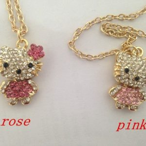 Fashion Hello Kitty Pendant Necklace Rhinestone Crystal Necklace For Women Gold Silver Chain