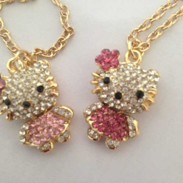 e90c6725b Fashion Hello Kitty Pendant Necklace Rhinestone Crystal Necklace For ...