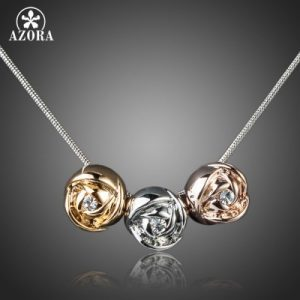 Brand Design Platinum Plated Stellux Austrian Crystal 3pcs Roses Pendant Necklace