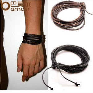 HOT Leather Bracelets & Bangles for Men and Women Black Braided Rope Fashion Man