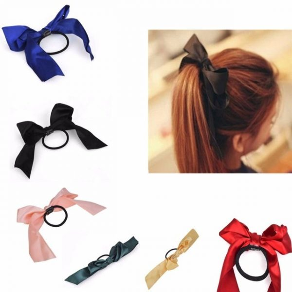 Lot hair accessories1 piece Women Tiara Satin Ribbon Bow Hair Band Rope Scrunchie