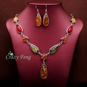 Women's Vintage Retro 18k Gold Plated Amber African Jewelry Sets Necklace Earrings Wedding