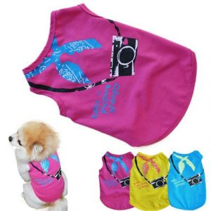 New Qualified New Pet clothes Fashion Small Dog Sleeveless Camera Printing Pet Dog T-shirt